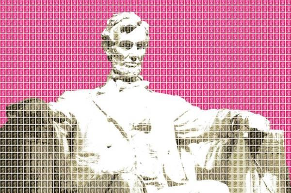Us Civil War Digital Art - Lincoln Memorial - Pink by Gary Hogben