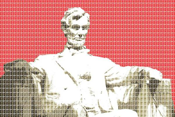 Us Civil War Digital Art - Lincoln Memorial - Red by Gary Hogben