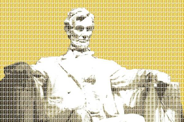 Us Civil War Digital Art - Lincoln Memorial - Yellow by Gary Hogben