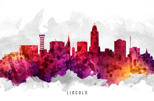 Nebraska Painting - Lincoln Nebraska Cityscape 14 by Aged Pixel