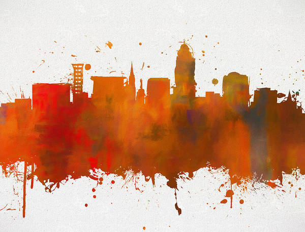 Wall Art - Painting - Lincoln Nebraska Colorful Skyline by Dan Sproul