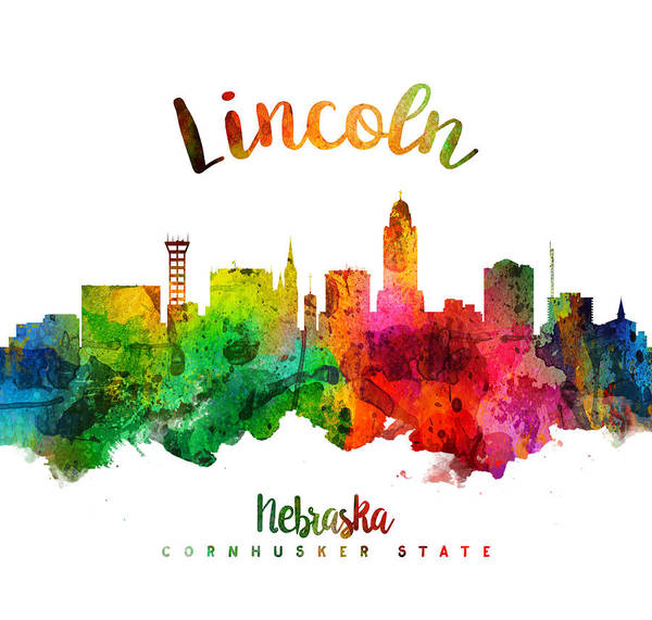 Wall Art - Painting - Lincoln Nebraska Skyline 24 by Aged Pixel