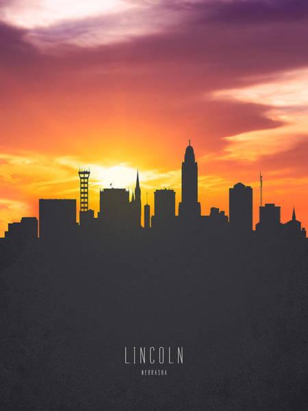 Nebraska Painting - Lincoln Nebraska Sunset Skyline 01 by Aged Pixel
