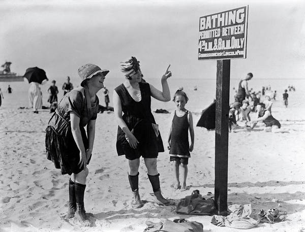 Wall Art - Photograph - Lincoln Park Bathing - Chicago 1919 by Daniel Hagerman