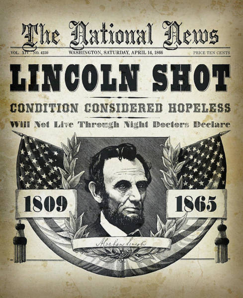 Us Civil War Mixed Media - Lincoln Shot Headline  by Daniel Hagerman