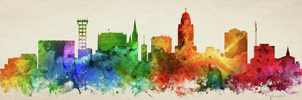 Lincoln Digital Art - Lincoln Skyline Panorama Usneli-pa03 by Aged Pixel