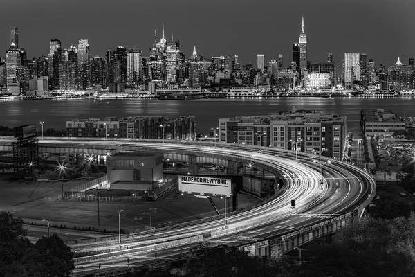Photograph - Lincoln Tunnel Helix And Nyc Skyline Bw by Susan Candelario