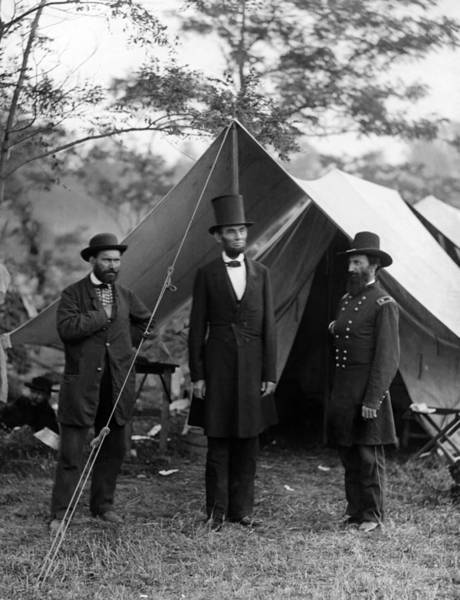 Abe Photograph - Lincoln With Allan Pinkerton - Battle Of Antietam - 1862 by War Is Hell Store