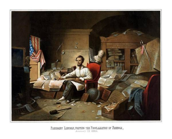 Us Civil War Wall Art - Painting - Lincoln Writing The Emancipation Proclamation by War Is Hell Store