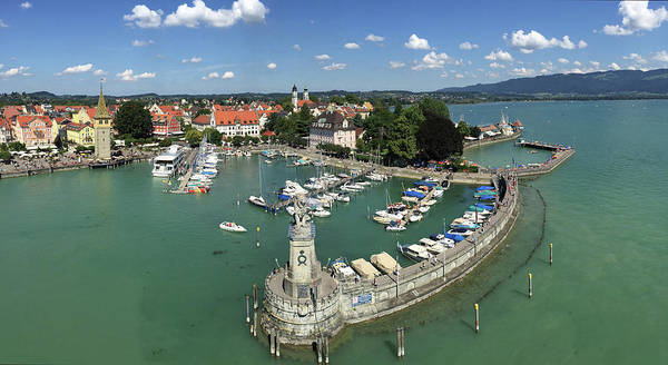 Germany Wall Art - Photograph - Lindau Bodensee Germany Harbor Panorama by Matthias Hauser