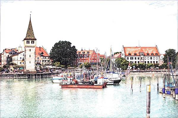 Mixed Media - Lindau Harbor Sketch by Tatiana Travelways