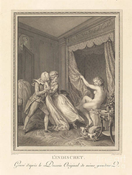 Wall Art - Drawing - L'indiscret by Francois-nicolas-barthelemy Dequevauviller After Antoine Borel