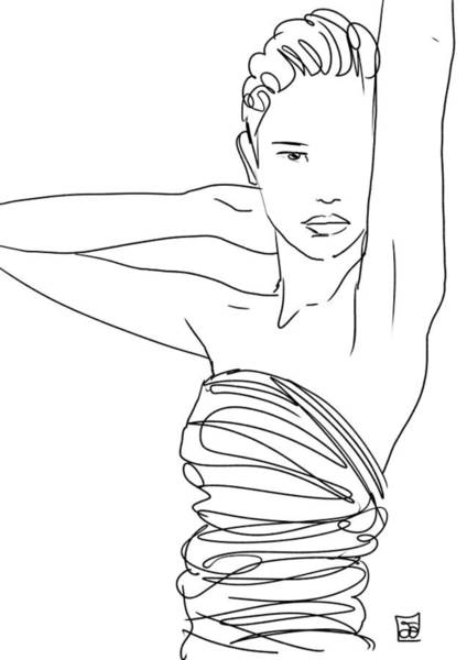 Lines Wall Art - Drawing - Line Art Lady by Giuseppe Cristiano