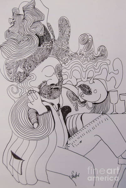 Drawing - Line Art Smoker by James Lavott