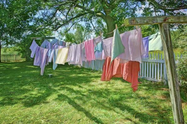 Clothesline Photograph - Line Dry - Laundry by Nikolyn McDonald
