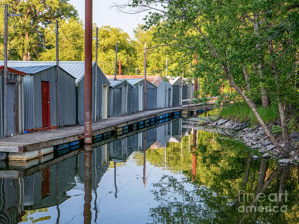 Photograph - Line Of Boathouses Winona Mn by Kari Yearous