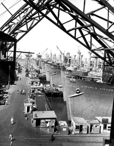 Cargo Ship Photograph - Line Of Victory Ships by California Shipbuilding Corporat