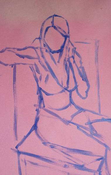 Painting - Line Painting Of Young Woman Sitting On A High Backed Chair by Mike Jory
