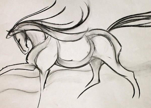 Warmbloods Drawing - Line Sketch by Jennifer Fosgate