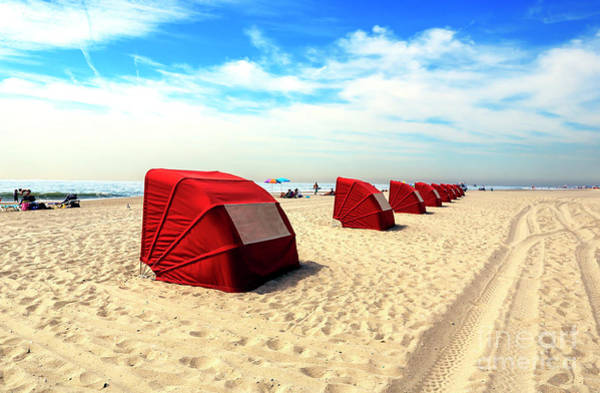 Photograph - Lined Up On Cape May Beach by John Rizzuto
