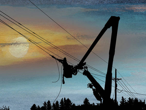 Power Distribution Mixed Media - Lineman's Dusk by R Kyllo