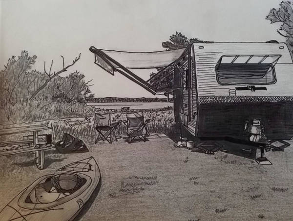 Trailer Drawing - Linesville Campground  by Shelley Smith