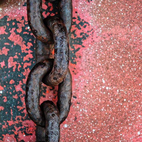 Rusty Chain Wall Art - Photograph - Linked...machinery by Tom Druin