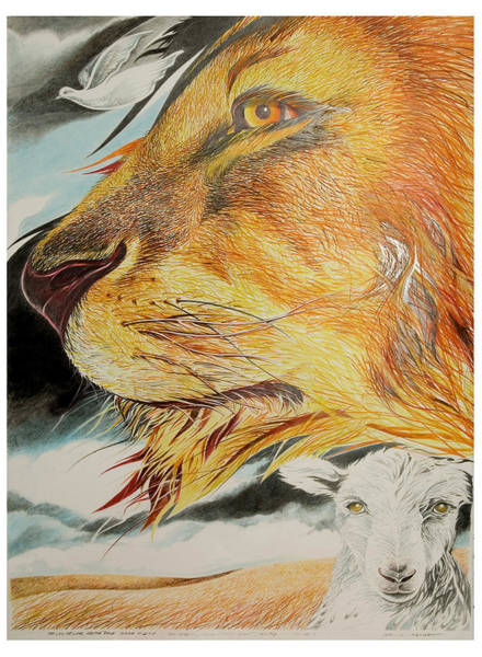 Complimentary Colors Mixed Media - Lion And Lamb And Dove by John Morris