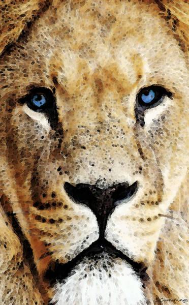 Wall Art - Painting - Lion Art - Blue Eyed King by Sharon Cummings