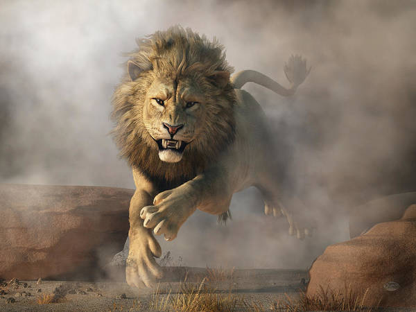 Digital Art - Lion Attack by Daniel Eskridge