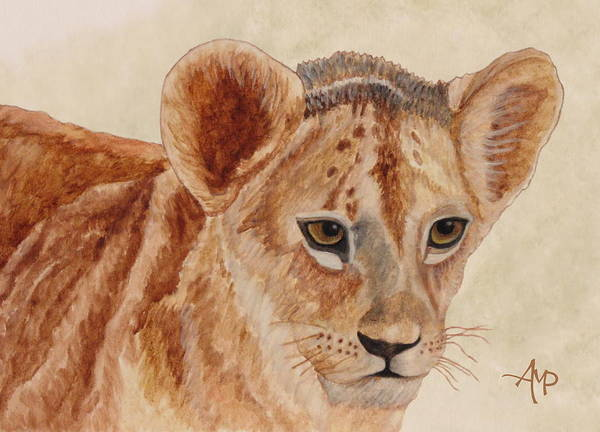 Painting - Lion Cub by Angeles M Pomata