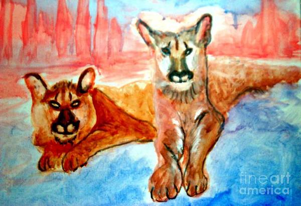 Painting - Lion Cubs Of Arizona by Stanley Morganstein