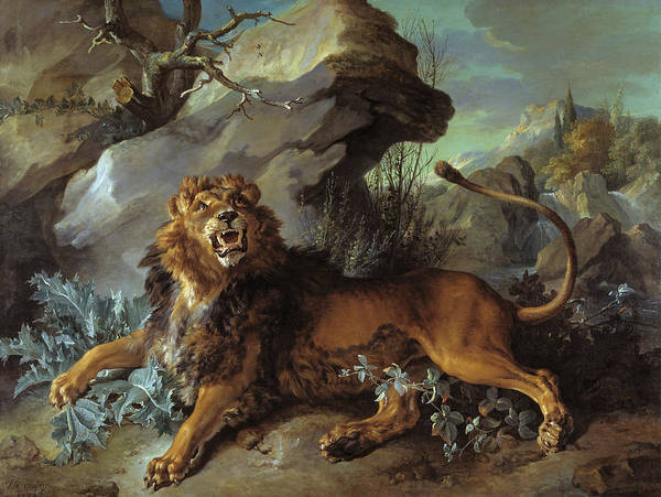 Mountain Lion Painting -  The Lion And The Fly  by Jean-Baptiste Oudry