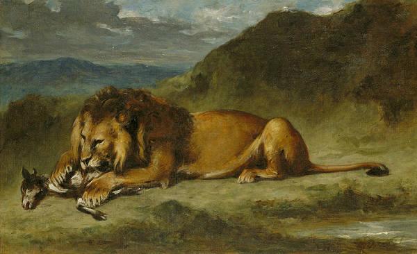 Mountain Lion Painting - Lion Devouring A Goat by Eugene Delacroix