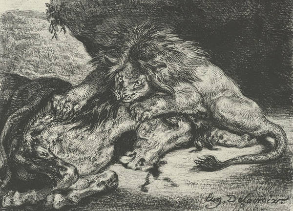 Relief - Lion Devouring A Horse by Eugene Delacroix