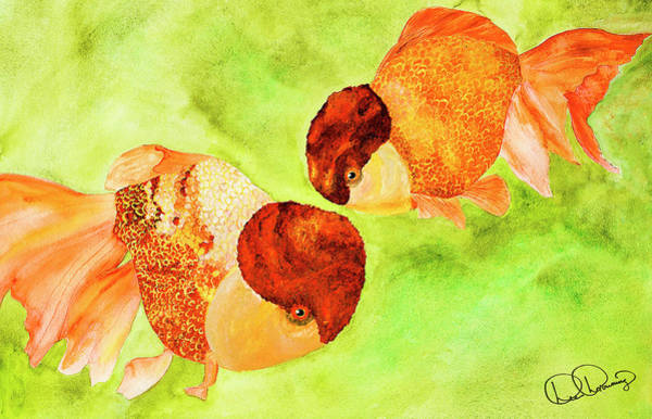 Painting - Lion Heads Goldfish by Dee Browning