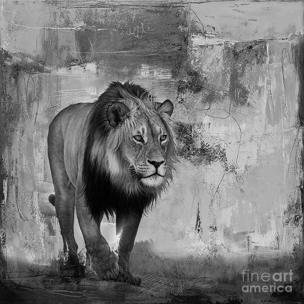 Wall Art - Painting - Lion Hunt 04 by Gull G