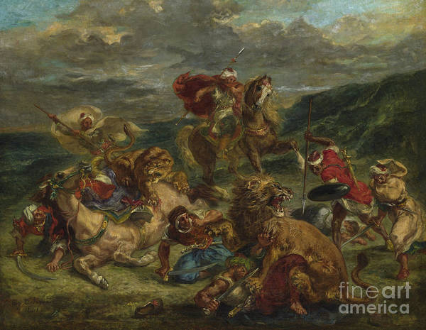Frenzy Wall Art - Painting - Lion Hunt by Ferdinand Victor Eugene Delacroix