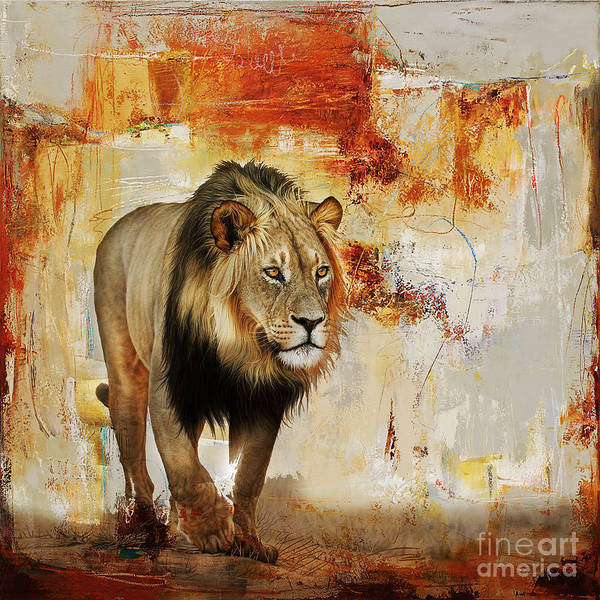 Wall Art - Painting - Lion Hunt  by Gull G