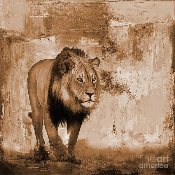 Wall Art - Painting - Lion Hunting  by Gull G
