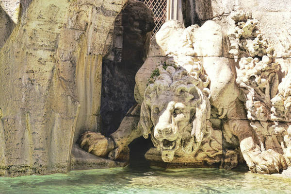 Photograph - Lion In The River Fountain by JAMART Photography