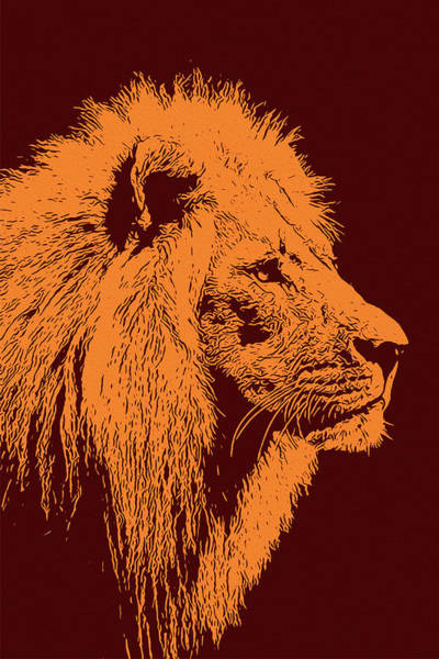 Painting - Lion, King Of Nature - Orange Portrait by Andrea Mazzocchetti