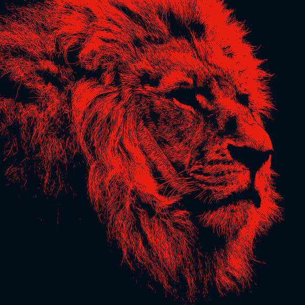 Painting - Lion King Portrait, In Red by Andrea Mazzocchetti