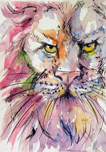 Wild Life Painting - Lion by Kovacs Anna Brigitta