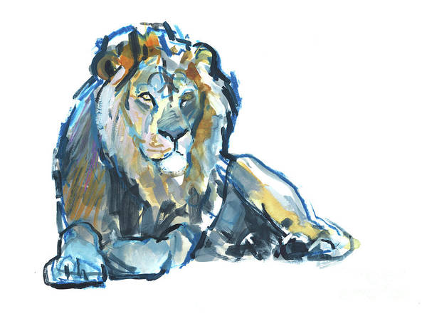 Male Mixed Media - Lion by Mark Adlington