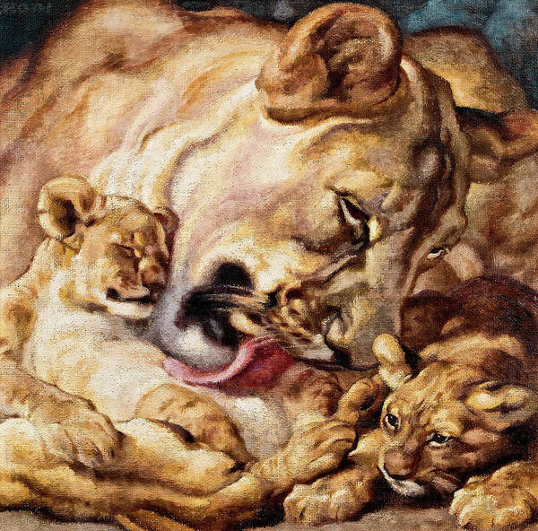 Mountain Lion Painting - Lion Mother by Norbertine Bresslern Roth