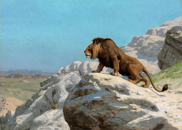 Mountain Lion Painting - Lion On The Watch by Jean-Leon Gerome