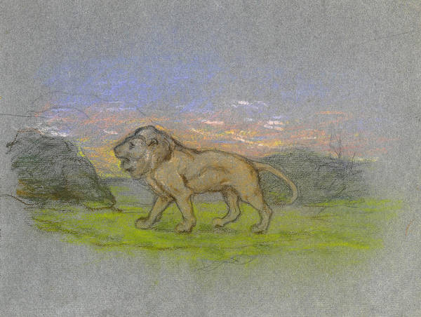 Impressionistic Landscape Drawing - Lion by Paul Gauguin