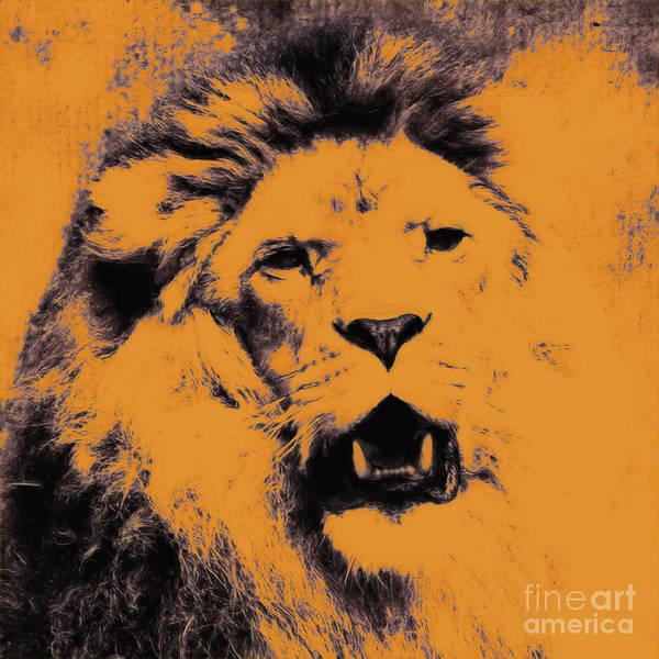 Digital Art - Lion Pop Art by Angela Doelling AD DESIGN Photo and PhotoArt