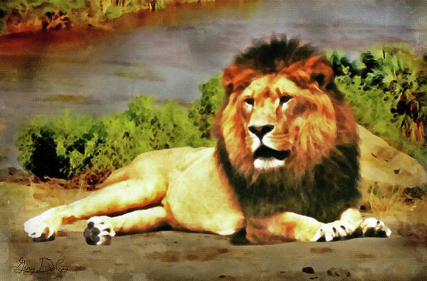 Digital Art - Lion Resting by Gary De Capua